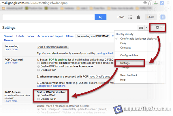 Enable Gmail SMTP, Pop3, IMAP Server Settings