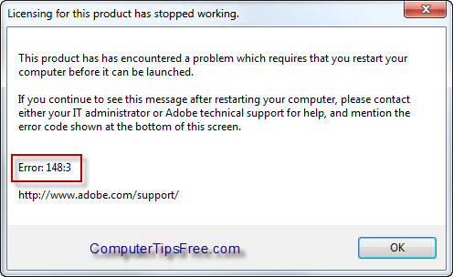 Fix: Adobe Photoshop CS4 Error 148:3 - Licensing for the product has stopped working