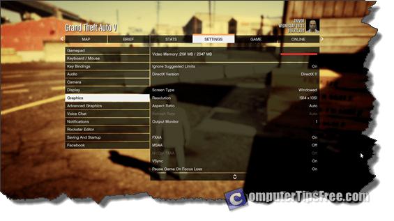 GTA V crash pc graphic video memory vehicle aim weapon