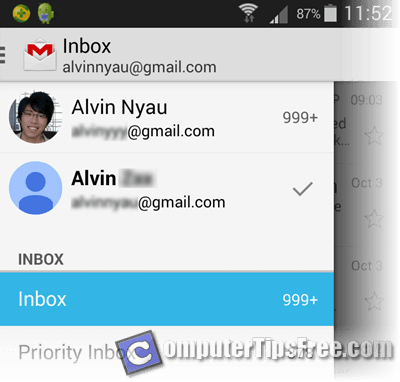 Gmail App for Android switch multiple accounts