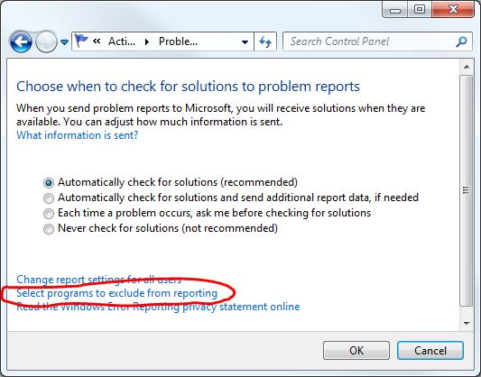 Disable Windows Error Reporting