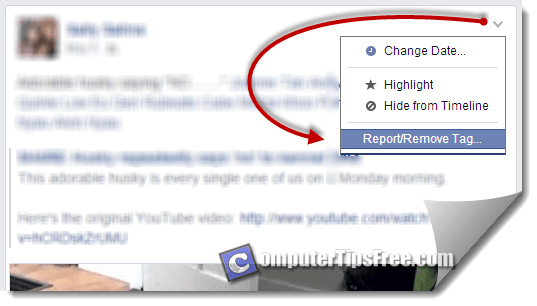 facebook remove tag on status