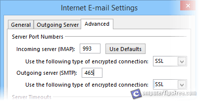 gmail outlook incoming outgoing server ip port ssl tls