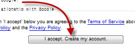 www.Gmail.com Sign Up form accept new account policy