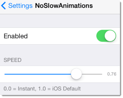 noslowanimations speed up ios7