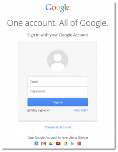 one google account gmail login page