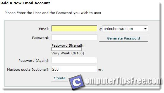 Set up new email account form cpanel create own domain name