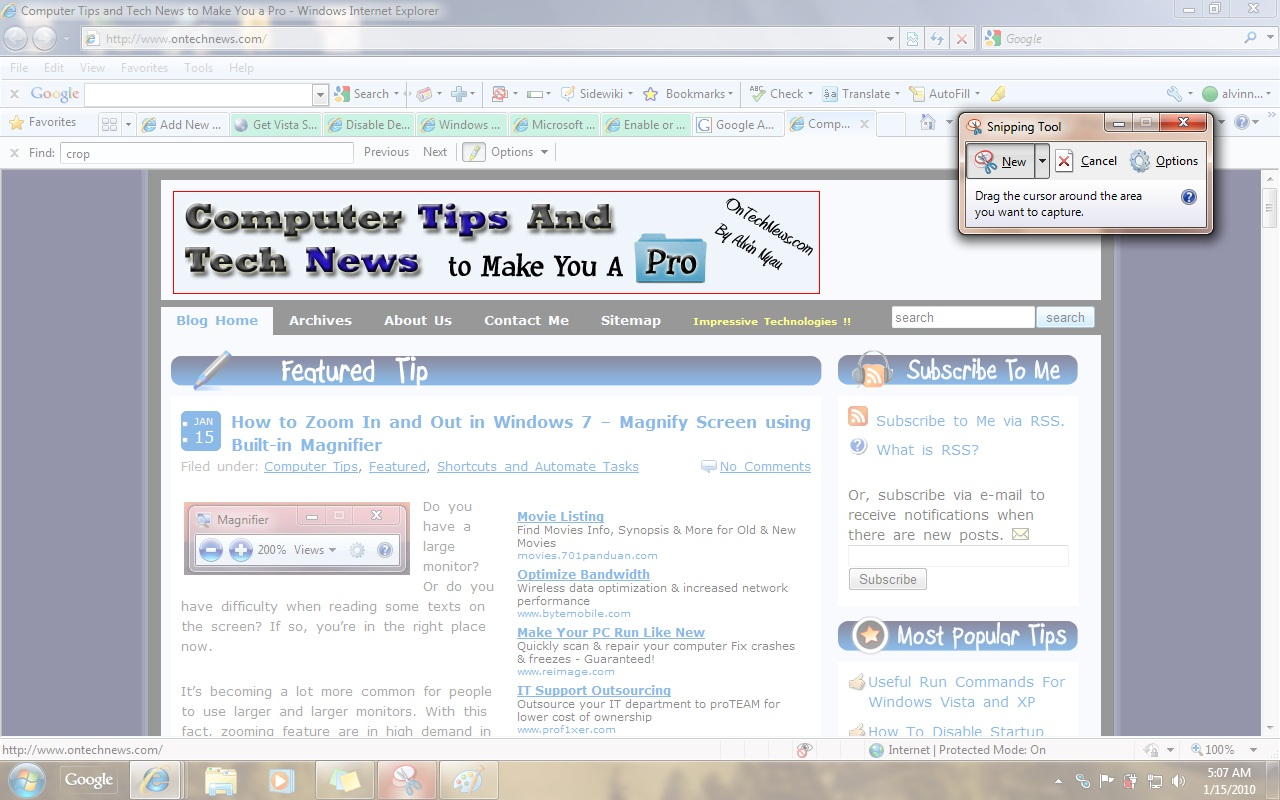 how to use the snipping tool on chrome