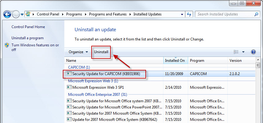 view-windows-update-history-in-xp-vista-and-7-delete-or-remove-6