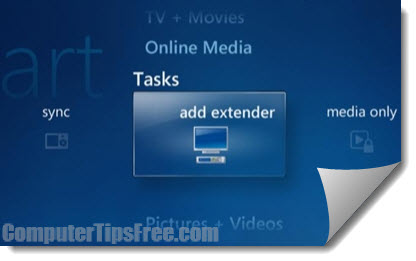 windows media center add extender