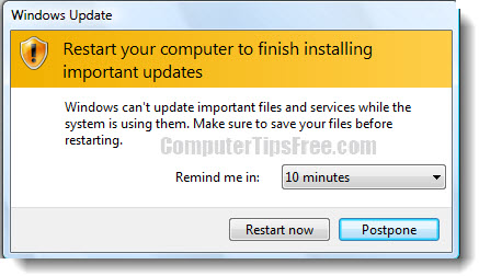 Stop/Disable Windows Update Restart Prompt Windows 8/7