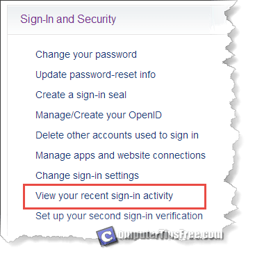 yahoo login history ip location clear delete